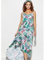 Платье «Тропикано» белого цвета с коралловыми цветами