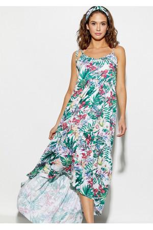 Сукня «Тропікано» білого кольору з кораловими квітами