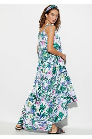 Сукня «Тропікано» білого кольору з синіми квітами
