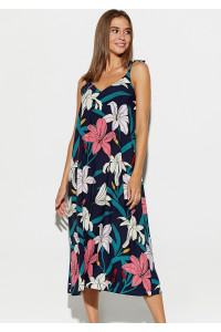 Сукня «Ліліан» темно-синього кольору з квітами