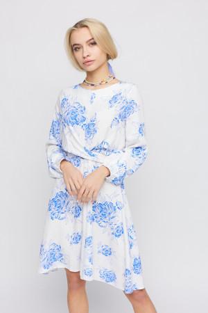 Сукня «Дебора» білого кольору з синім принтом