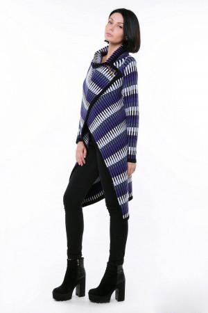 Кардиган «Дакота» черный с фиолетовым и белым
