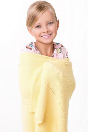 Ажурный плед желтого цвета, 140х120 см
