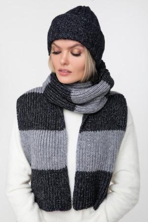Комплект «Чулок» (шапка, шарф, мітенки) темно-синього кольору
