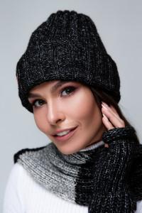 Комплект «Чулок» (шапка, шарф, мітенки) чорного кольору