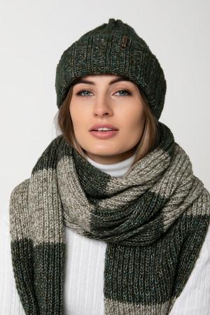Комплект «Чулок» (шапка, шарф, мітенки) темно-зеленого кольору