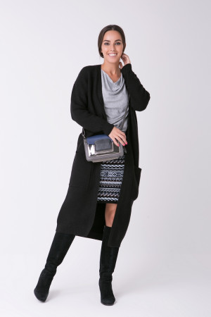Вязаное пальто «Пава» черного цвета