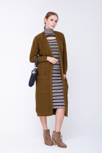 В'язане пальто «Пава» кольору хакі