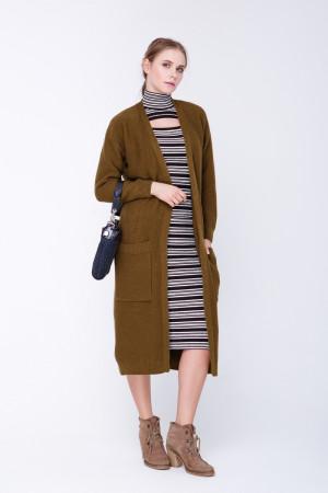 Вязаное пальто «Пава» цвета хаки