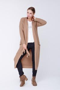 Вязаное пальто «Пава» цвета кэмел