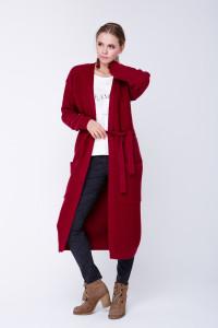 Вязаное пальто «Пава» бордового цвета