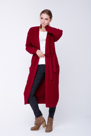 В'язане пальто «Пава» бордового кольору
