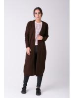 В'язане пальто «Пава» коричневого кольору