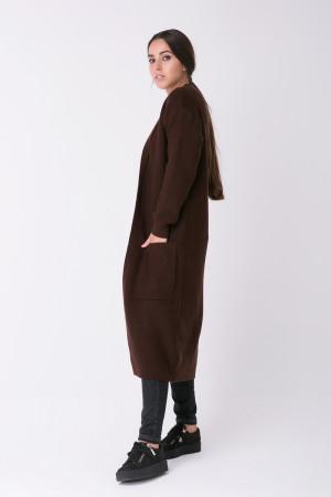 Вязаное пальто «Пава» коричневого цвета