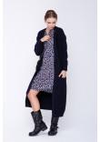 В'язане пальто «Пава» темно-синього кольору