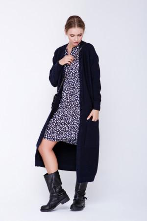 Вязаное пальто «Пава» темно-синего цвета