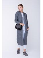 Вязаное пальто «Пава» серого цвета