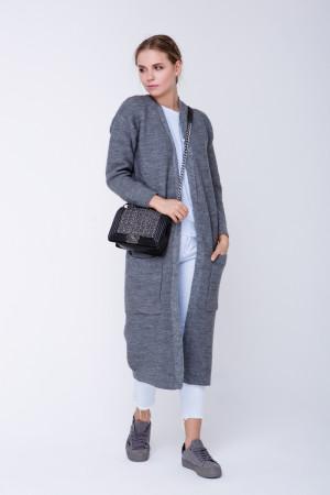 В'язане пальто «Пава» сірого кольору