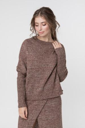 Джемпер «Асимметрия» цвета коричневый меланж