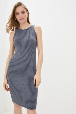 Вязаное платье «Бохо» серого цвета