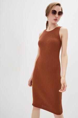Вязаное платье «Бохо» светло-коричневого цвета