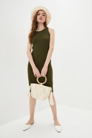 Вязаное платье «Бохо» цвета хаки
