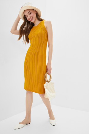 Вязаное платье «Бохо» горчичного цвета