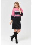 В'язаний костюм «Смужки» чорного кольору з рожево-сірими вставками