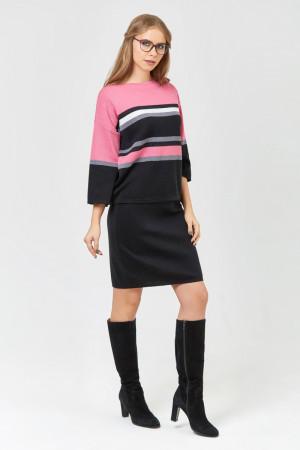 Вязаный костюм «Полоски» черного цвета с розово-серыми вставками