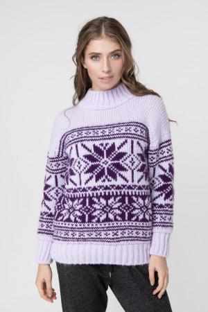 Светр «Альпа» бузкового кольору з фіолетовим візерунком
