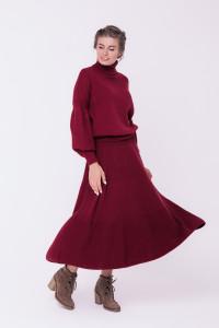 Спідниця «Кльош» бордового кольору
