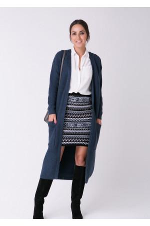 Вязаное пальто «Пава» цвета джинс