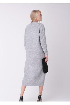 Вязаное пальто «Пава» светло-серого цвета