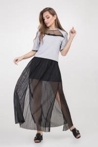 Блуза «Тейра» серого цвета