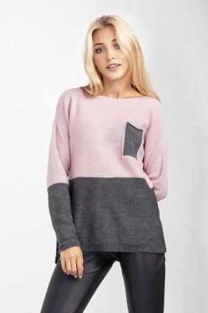 Джемпер «Астер» серого и розового цветов