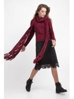 Джемпер с шарфом «Бук» вишневого цвета