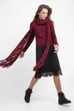 Джемпер з шарфом «Бук» вишневого кольору