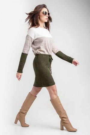 Платье «Мия» цвета хаки с льняным