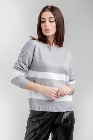 Джемпер «Вилотта» светло-серого цвета с белым