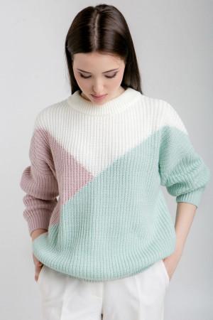 Джемпер «Лоза» фисташковый-розовый