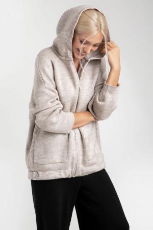 Вязаная куртка «Дара» цвета льна