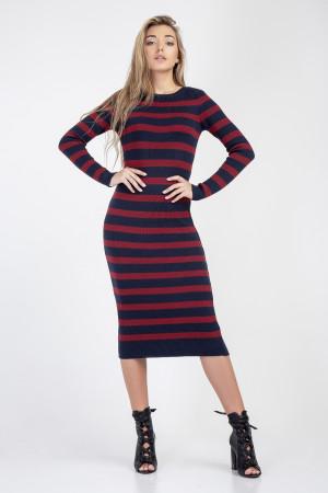 Платье «Ларго» цвета марсала с синим