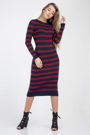 Сукня «Ларго» кольору марсала з синім