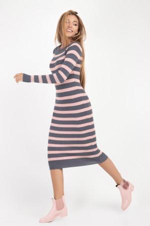 Платье «Ларго» серого с розовым цвета