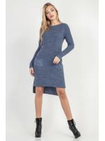 Платье-туника «Асиметрико» серо-синего цвета