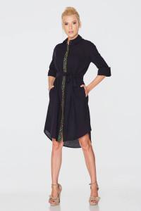 Платье-рубашка «Марыся» черного цвета