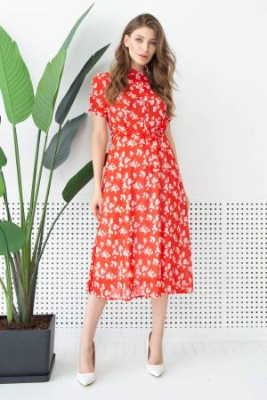 Платье «Финн» красного цвета с цветочным принтом