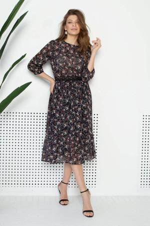 Платье «Патти» черного цвета с принтом
