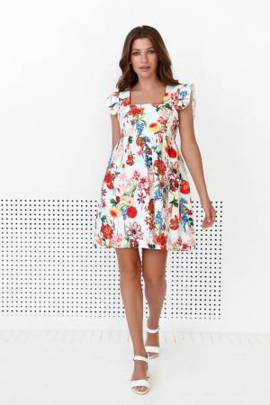 Платье «Джилли» молочного цвета с цветочным принтом