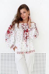 Блуза «Брітта» молочного кольору з квітковим принтом